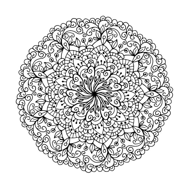 Mandalas för färgläggningbok Dekorativa rundaprydnader Ovanlig blommaform Österlänning Anti--spänning terapimodeller väv royaltyfri illustrationer