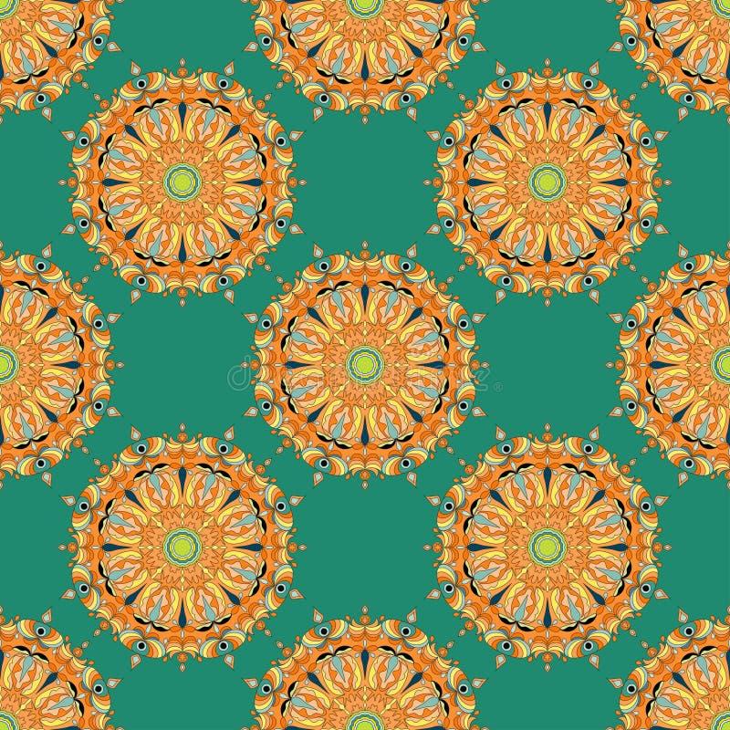 mandalas Reticolo senza giunte Elementi decorativi dell'annata Illustrazione di vettore royalty illustrazione gratis