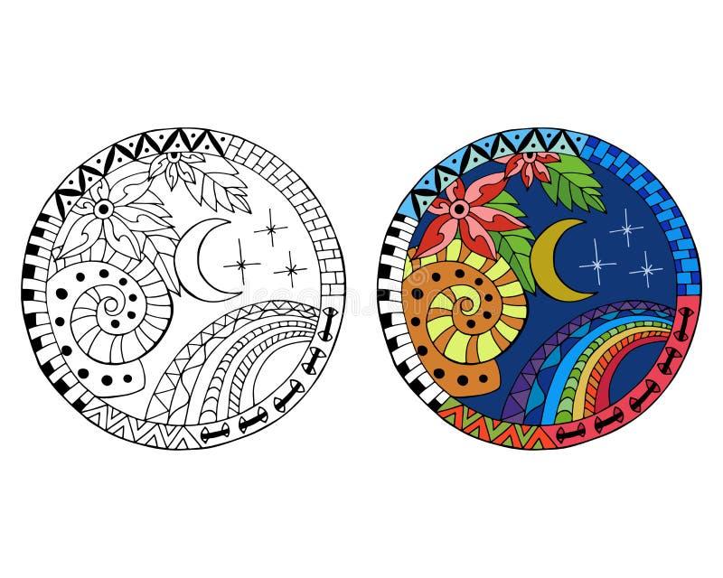 Mandalas tiradas mão do círculo da noite ilustração do vetor