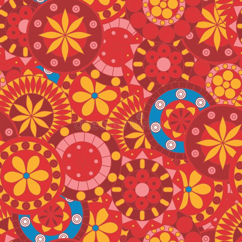 Mandalas vermelhas e cor-de-rosa ilustração do vetor