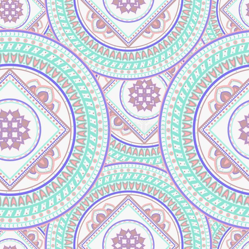 Mandalaseamlesbakgrund royaltyfri illustrationer