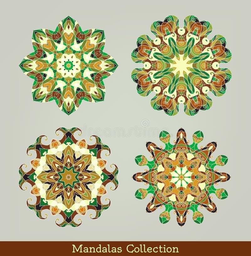Mandalasuppsättning rund blom- modell vektor illustrationer