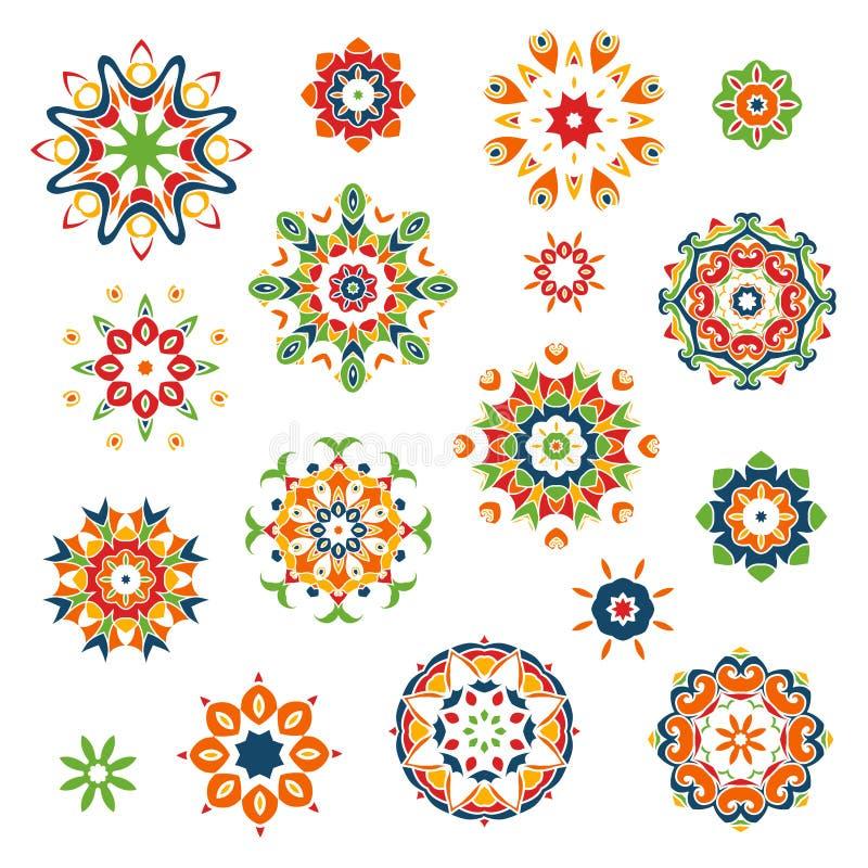 Mandalasuppsättning rund blom- modell stock illustrationer