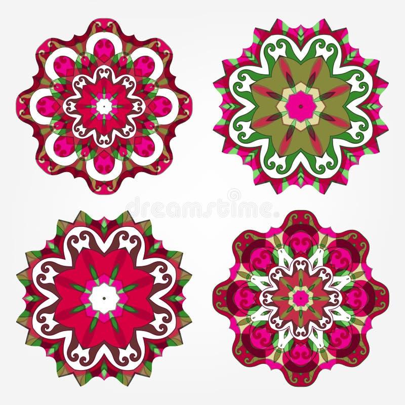 Mandalasuppsättning Runda blom- modeller stock illustrationer