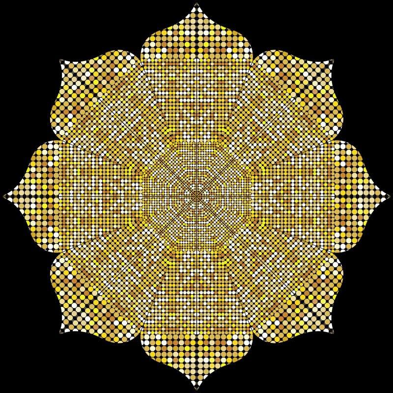 Mandalatextur med guld- mosaiker i den bysantinska stilen/den antika mosaiken/de mosaiska tegelplattorna i antik stil Kullerstent vektor illustrationer