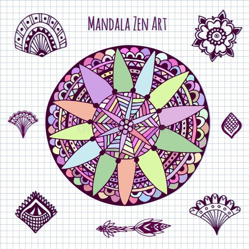 Mandalavektor för färgläggningbok Cirkelzentangle för sidor för färgläggningbok Rund prydnadmodell stock illustrationer