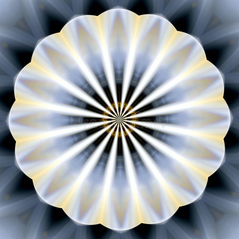 Mandalavorm in zilveren en blauwe tinten, achtergrond stock illustratie