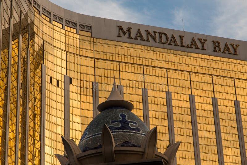 Mandalay Bay Casino in Las Vegas. Las Vegas,Mandalay Bay Casino . Exterior view at night stock photography