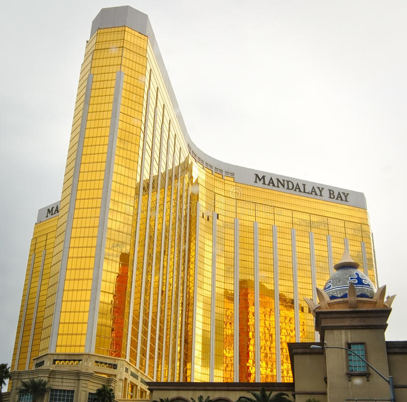 Mandalay bay hotel in all its glory. LAS VEGAS, NEVADA - JANUARY, 2016: Mandalay Bay hotel and casino part of the MGM resorts and host to `Michael Jackson One` stock photos