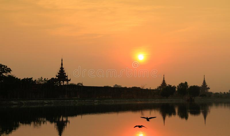Mandalay Moat. Typical sunset of Mandalay, Myanmar stock image