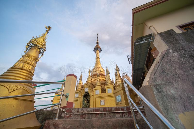 Temples and pagodas at top of mount POPA in Mandalay Myanmar. Mandalay, Myanmar, May , 2019 - temples and pagodas at top of mount POPA, home of 37 of the most royalty free stock photos