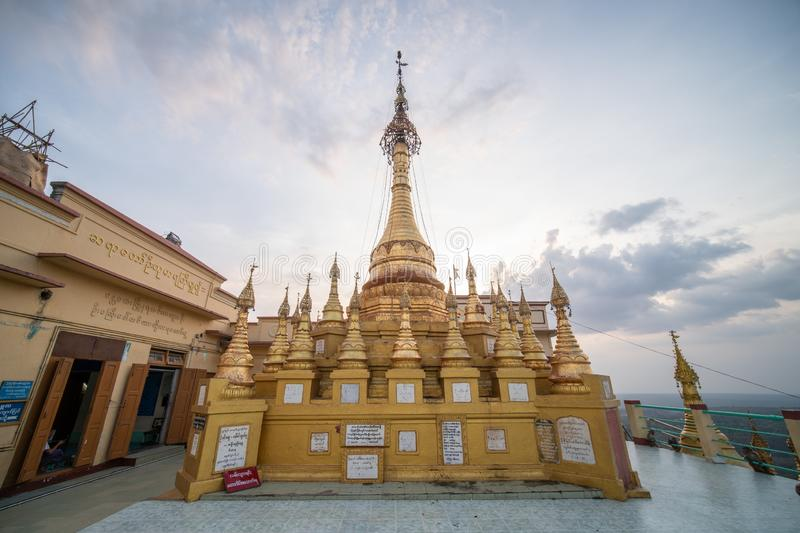 Temples and pagodas at top of mount POPA in Mandalay Myanmar. Mandalay, Myanmar, May , 2019 - temples and pagodas at top of mount POPA, home of 37 of the most royalty free stock photo