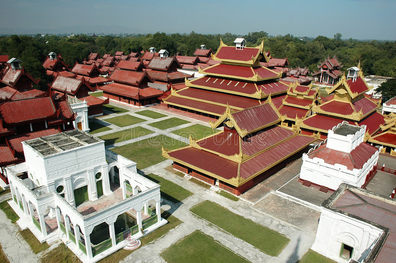 Mandalay Palace Aerial View. The majestic newly renovated Mandalay Palace (Myanmar) view from tower stock image