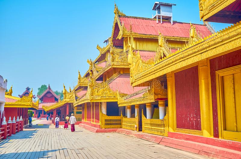 The proud of Myanmar, Mandalay Palace. The Mandalay Palace with its buildings is a pearl in Royal Burmese architecture, Myanmar stock photo
