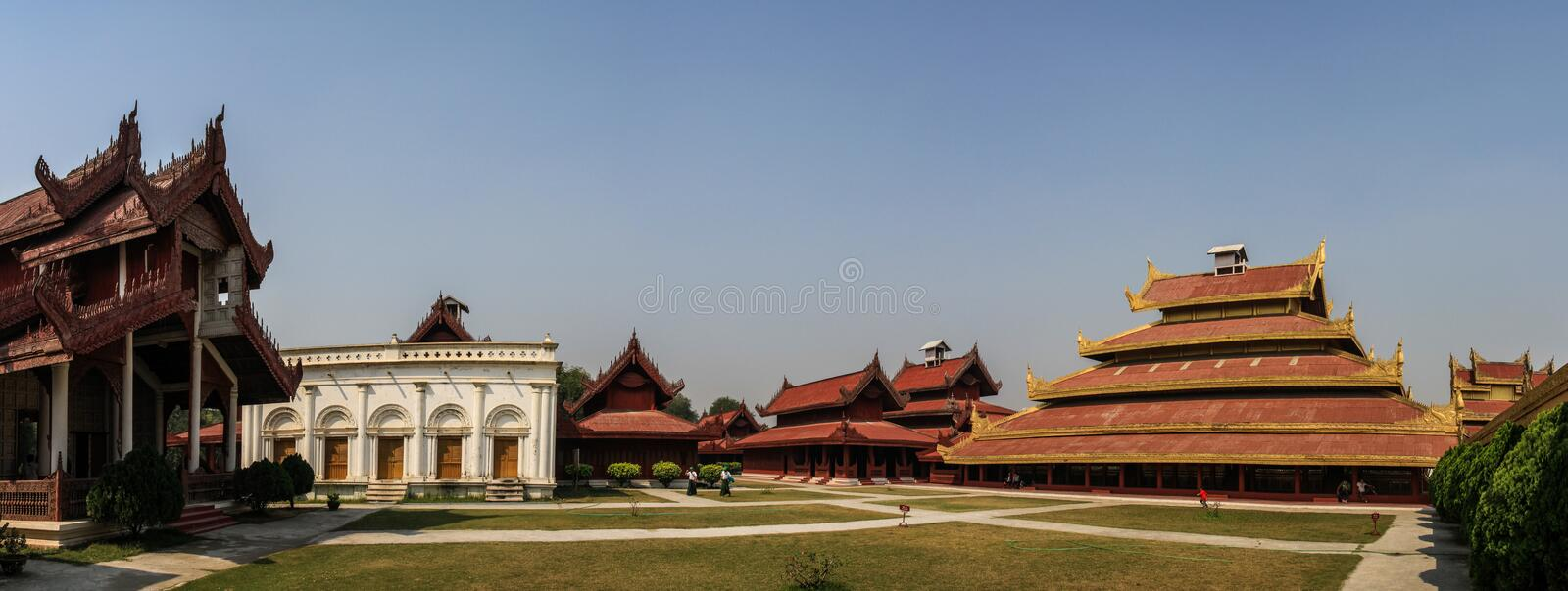Panoramic view of the Royal Palace in Mandalay, Mandalay Region, Myanmar,. The Mandalay Palace located in Mandalay, Myanmar, is the last royal palace of the last stock image