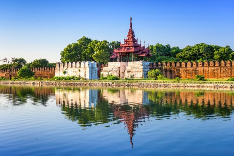Mandalay Palace. Mandalay, Myanmar at the palace wall and moat royalty free stock photo