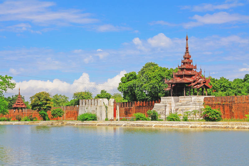 Mandalay Palace Wall, Mandalay, Myanmar. The Mandalay Palace located in Mandalay, Myanmar, is the last royal palace of the last Burmese monarchy. The palace was royalty free stock photo