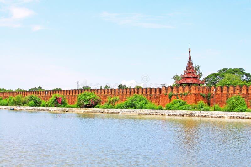 Mandalay Palace Wall, Mandalay, Myanmar. The Mandalay Palace located in Mandalay, Myanmar, is the last royal palace of the last Burmese monarchy. The palace was stock images