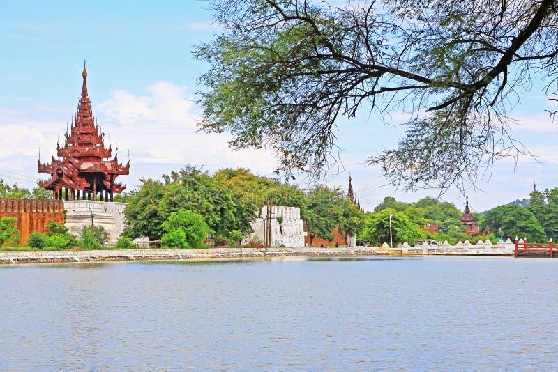 Mandalay Palace Wall, Mandalay, Myanmar. The Mandalay Palace located in Mandalay, Myanmar, is the last royal palace of the last Burmese monarchy. The palace was stock photo