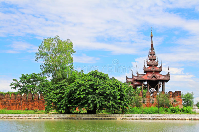 Mandalay Palace Wall, Mandalay, Myanmar. The Mandalay Palace located in Mandalay, Myanmar, is the last royal palace of the last Burmese monarchy. The palace was royalty free stock image
