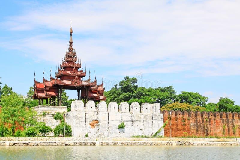 Mandalay Palace Wall, Mandalay, Myanmar. The Mandalay Palace located in Mandalay, Myanmar, is the last royal palace of the last Burmese monarchy. The palace was stock image
