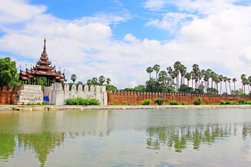Mandalay Palace Wall, Mandalay, Myanmar. The Mandalay Palace located in Mandalay, Myanmar, is the last royal palace of the last Burmese monarchy. The palace was royalty free stock images