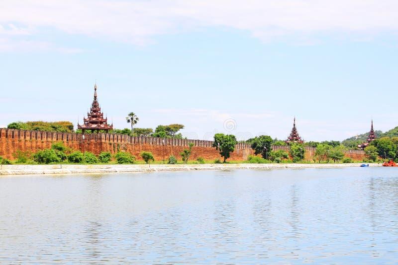 Mandalay Palace Wall, Mandalay, Myanmar. The Mandalay Palace located in Mandalay, Myanmar, is the last royal palace of the last Burmese monarchy. The palace was royalty free stock photography