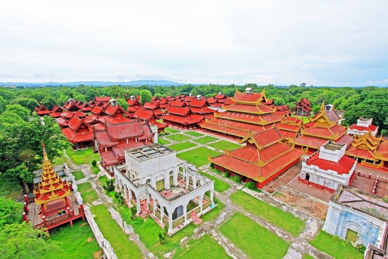 Mandalay Royal Palace Panorama, Mandalay, Myanmar. The Mandalay Palace located in Mandalay, Myanmar, is the last royal palace of the last Burmese monarchy. The royalty free stock photography