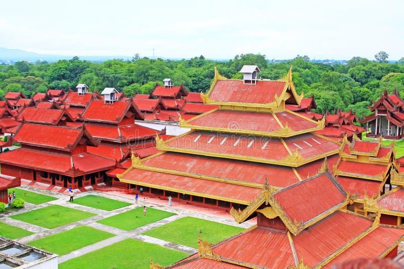 Mandalay Royal Palace Panorama, Mandalay, Myanmar. The Mandalay Palace located in Mandalay, Myanmar, is the last royal palace of the last Burmese monarchy. The royalty free stock image