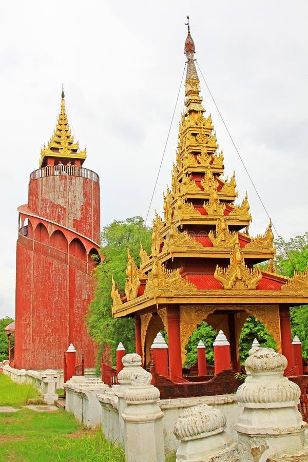 Mandalay Royal Palace Watch Tower, Mandalay, Myanmar. The Mandalay Palace located in Mandalay, Myanmar, is the last royal palace of the last Burmese monarchy royalty free stock photo