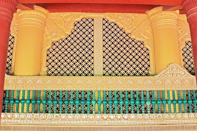 Mandalay Royal Palace Wood Carved, Mandalay, Myanmar. The Mandalay Palace located in Mandalay, Myanmar, is the last royal palace of the last Burmese monarchy stock photography