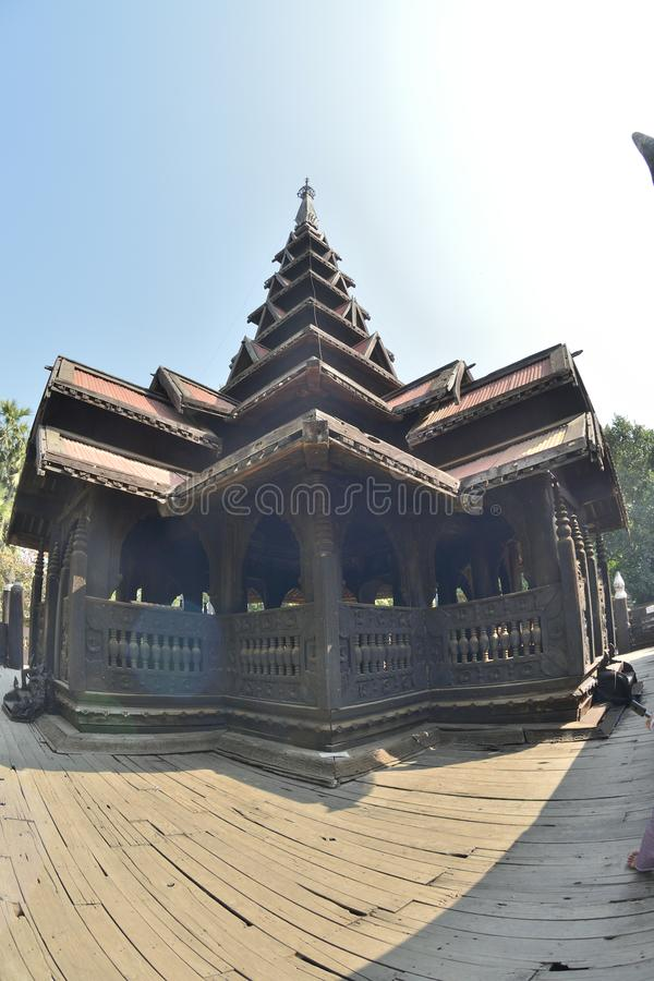 Mandalay wood Bagaya Monastery. Myanmar Mandalay wooden Bagaya Monastery royalty free stock images