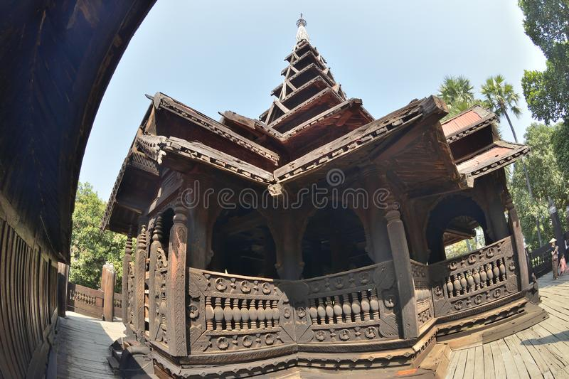 Mandalay wood Bagaya Monastery. Myanmar Mandalay wooden Bagaya Monastery stock photo