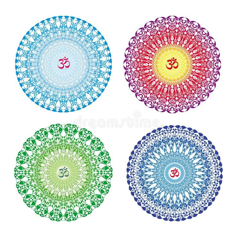 4 mandale in 4 colori Ornamento circolare variopinto Openwork con il simbolo ohm/di Aum/OM illustrazione di stock