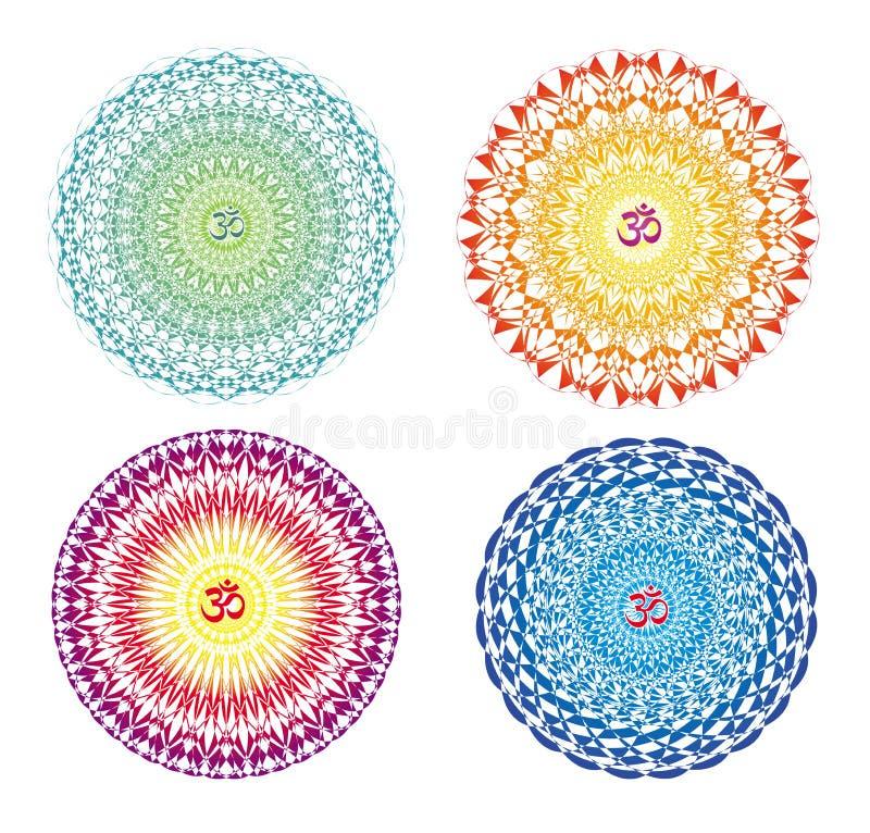 4 mandale in 4 colori Ornamento circolare variopinto Openwork con il simbolo ohm/di Aum/OM royalty illustrazione gratis