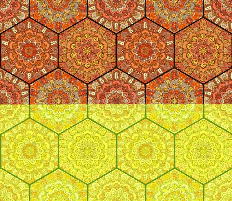 Mandale di Honey Comb Hex Pattern Flower fotografie stock libere da diritti
