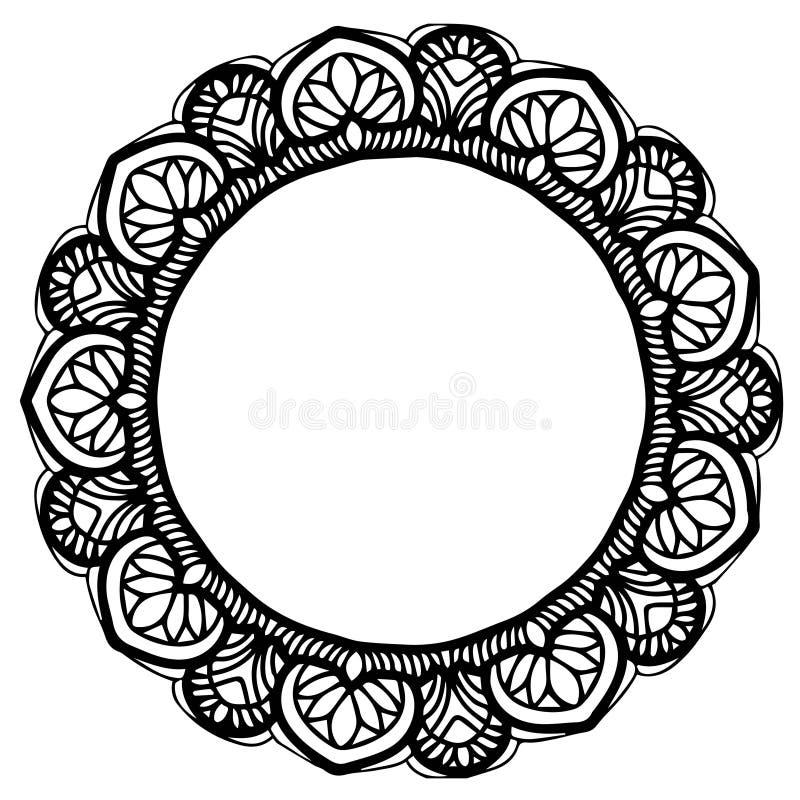 Mandale per il libro da colorare Ornamenti rotondi decorativi Forma insolita del fiore Vettore orientale, modelli di terapia di A illustrazione di stock