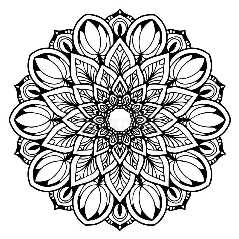 Mandale per il libro da colorare Ornamenti rotondi decorativi Forma insolita del fiore Vettore orientale, modelli di terapia di A royalty illustrazione gratis