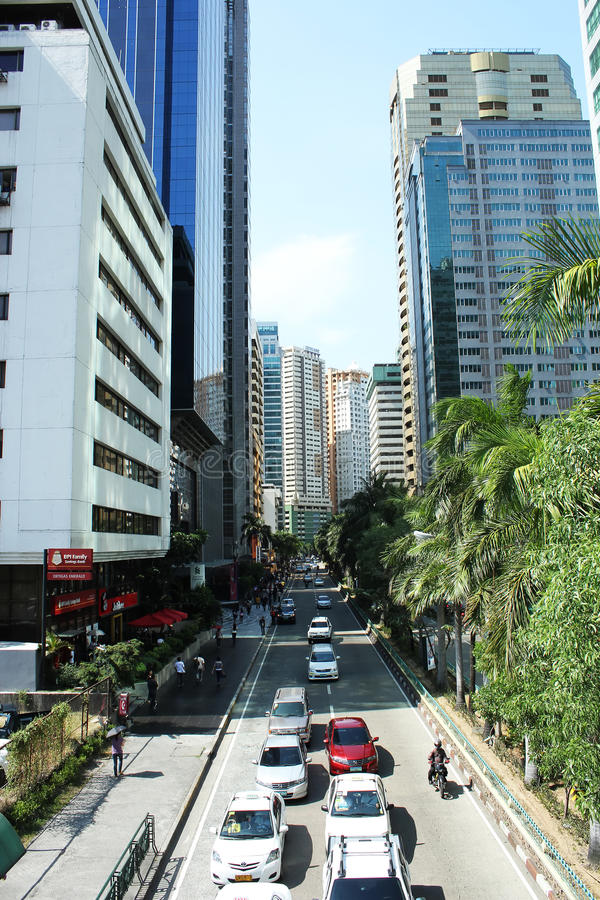Mandaluyong City, Philippines, Sky scrapers. A photograph of the skyscrapers and some traffic of Mandaluyong City, Philippines. This City is one of the most stock photography