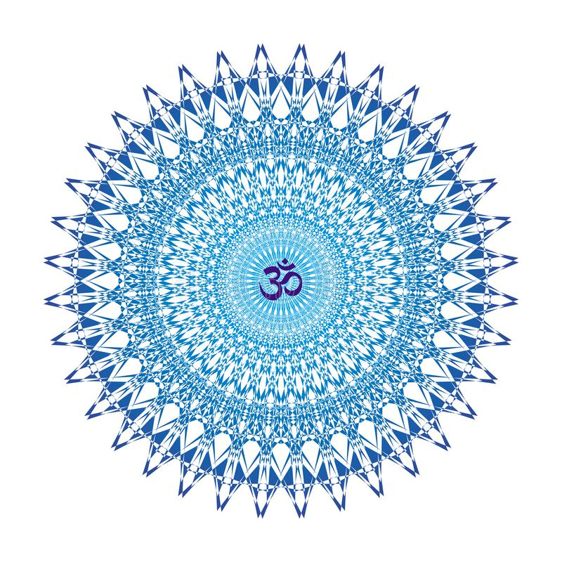 Blue mandala with aum / ohm / om sign in the center. Vector. Blue mandala with aum / ohm / om sign in the center. Vector openwork delicate drawing. Spiritual stock illustration