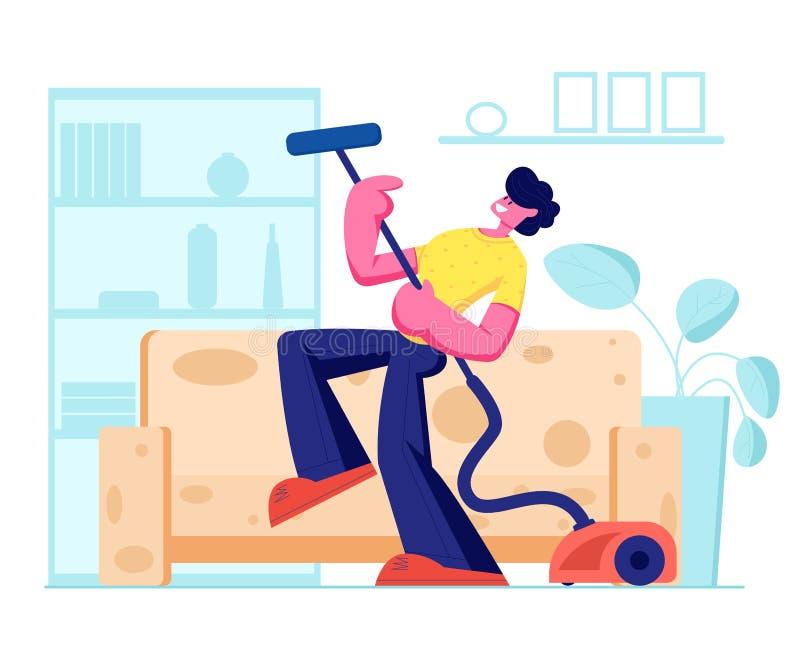 Mandans med dammsugare, som det är den elektriska gitarren, dammsuga för husägare som är hem- i vardagsrum Hush?llsarbete royaltyfri illustrationer