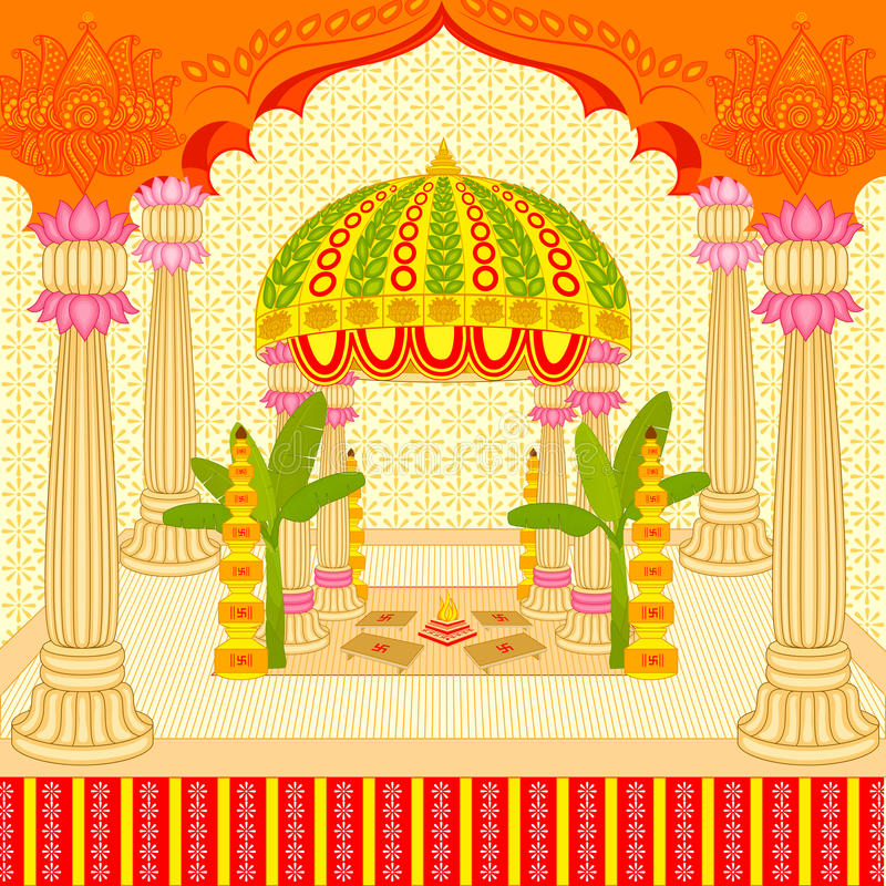 Mandap indio de la boda stock de ilustración