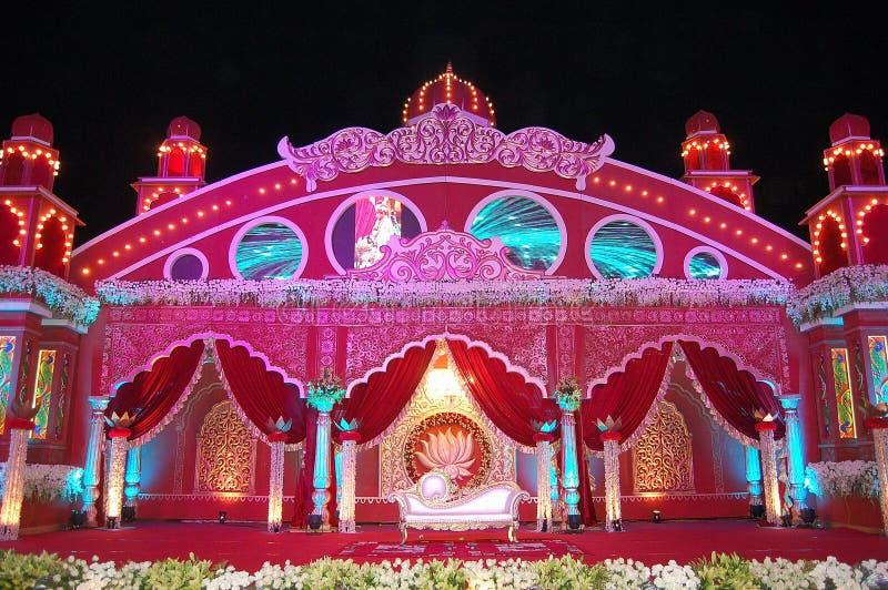 Mandap indio de la etapa de la boda foto de archivo