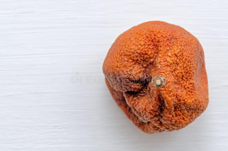 Mandarín feo podrido sobre fondo blanco Mandarina naranja con mandarina marrón, vista superior, closet Producto estropeado con lu fotografía de archivo