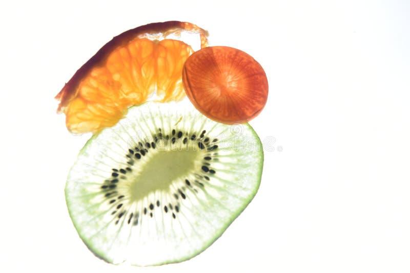 Mandarijn macro del wortel del kiwi imagen de archivo libre de regalías