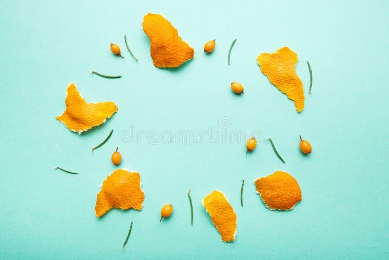 Mandarin, duindoorn en pijnboomnaalden in de vorm van een cirkel stock foto's