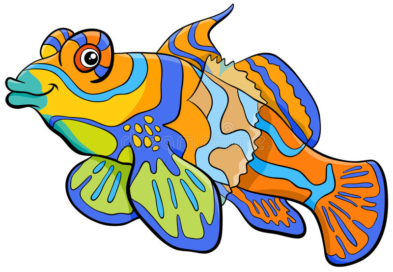 Mandarin fish cartoon character. Cartoon Illustration of Mandarin Fish Sea Life Animal Character stock illustration