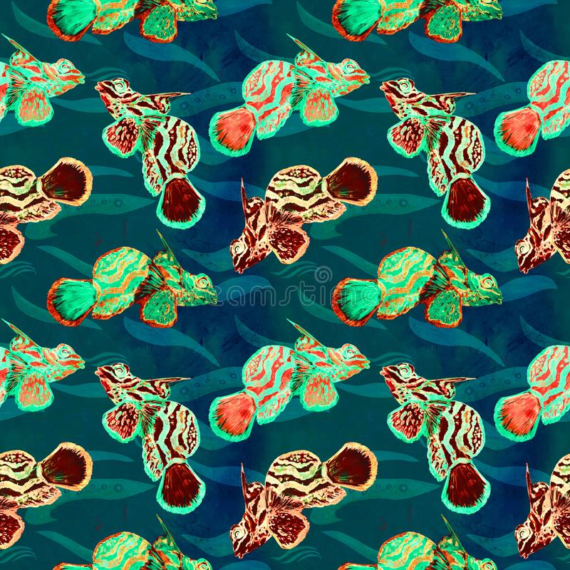 Mandarin fish hand painted watercolor illustration, seamless pattern on turquoise ocean surface with waves background. Mandarin fish Synchiropus splendidus, the stock illustration