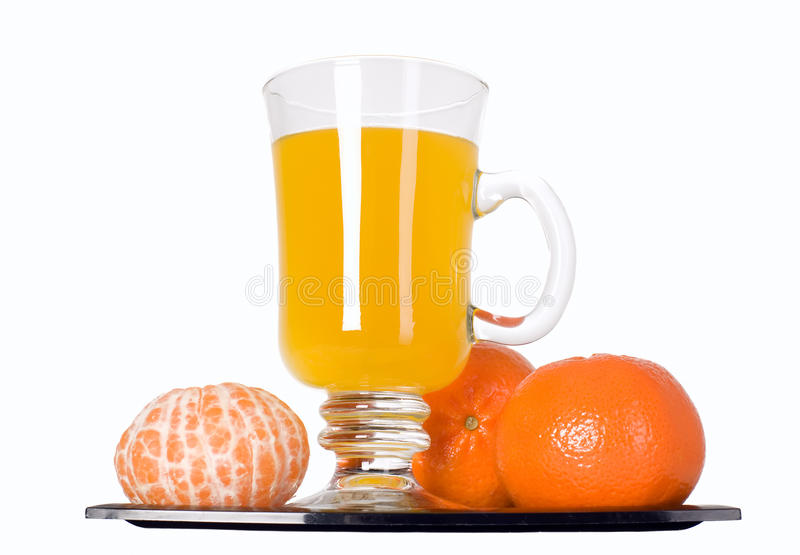 Mandarin Fruit And Orange Juice In Glass Royalty Free Stock Images