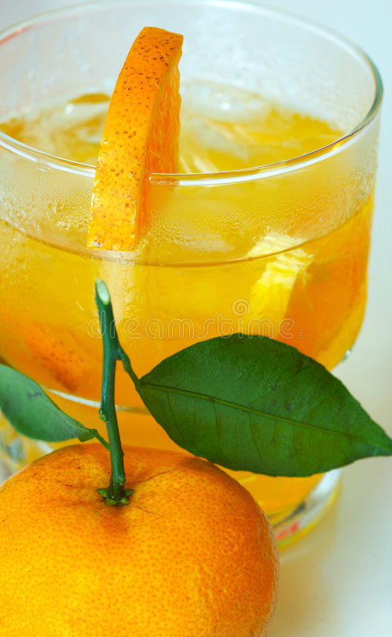 Mandarin and juice stock photos